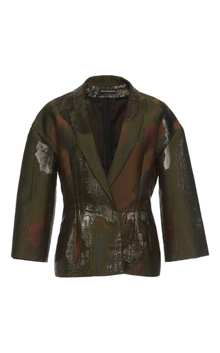 Medium vika gazinskaya green metallic detail jacquard jacket