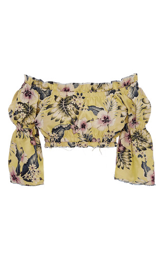 Medium philosophy di lorenzo serafini floral off the shoulder floral crop top