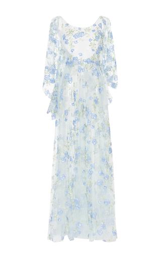 Medium luisa beccaria blue tulle embroidered flowers maxi dress
