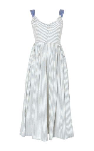 Medium luisa beccaria stripe linen stretch stripes ribbon dress