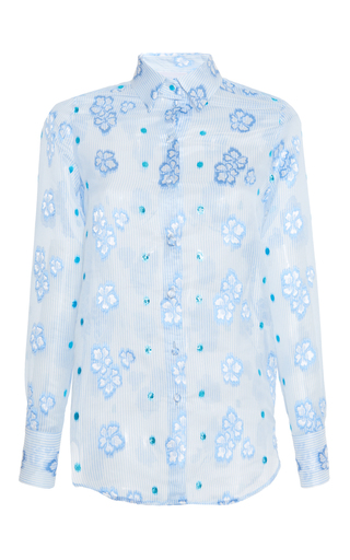 Medium luisa beccaria blue organza fil coupe shirt