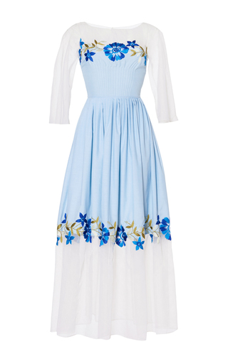 Medium luisa beccaria blue cotton and tulle flowers embroidered dress