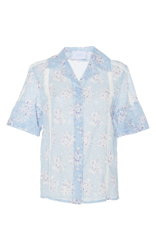 Medium luisa beccaria blue cotton mussola printed shirt