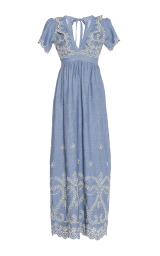 Medium luisa beccaria blue cotton embroidered v neck maxi dress
