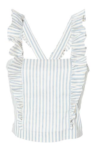 Medium luisa beccaria stripe linen stretch stripes top