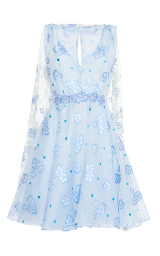 Medium luisa beccaria blue organza fil coupe short dress with cape