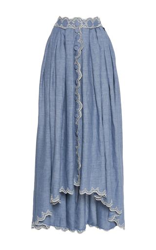 Medium luisa beccaria blue cotton embroidered skirt with buttons