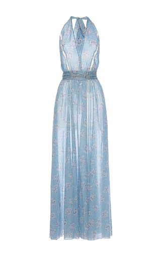 Medium luisa beccaria blue cotton mussola printed maxi dress