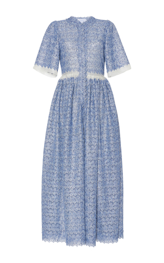 Medium luisa beccaria blue organza chemisier lurex eyelet dress