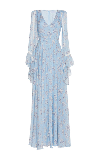 Medium luisa beccaria blue cotton mussola printed maxi dress 2
