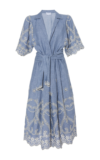 Medium luisa beccaria blue cotton embroidered chemisier with sache