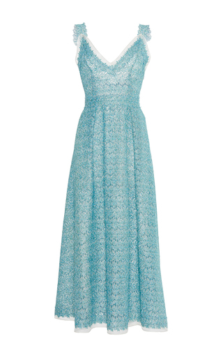 Medium luisa beccaria green organza lurex eyelet dress