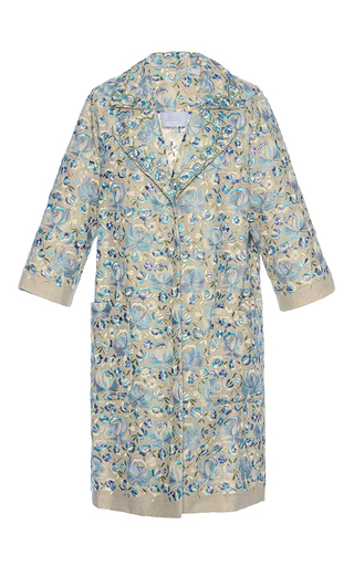 Medium luisa beccaria blue linen embroidered coat