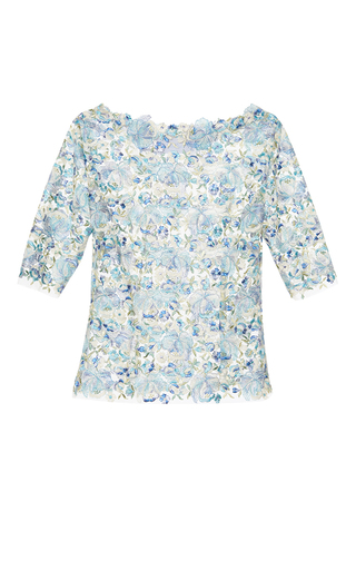 Medium luisa beccaria blue tulle embroidered flowers top