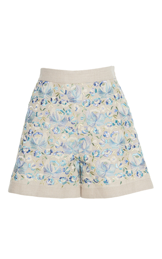 Medium luisa beccaria blue linen embroidered shorts
