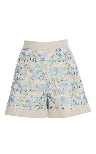 Medium luisa beccaria blue linen embroidered shorts