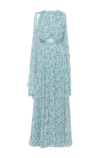 Medium luisa beccaria print georgette printed plisse dress with cape