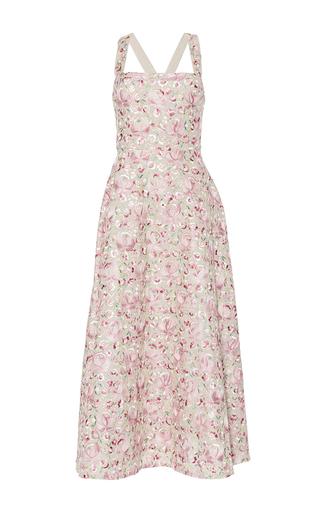 Medium luisa beccaria pink linen embroidered flowers dress