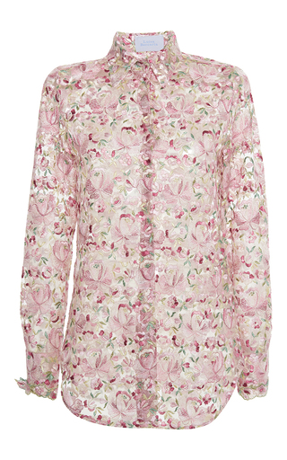 Medium luisa beccaria pink tulle embroidered flowers shirt