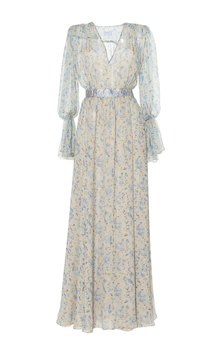 Medium luisa beccaria print chiffon crepon printed maxi dress