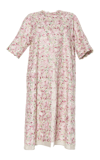 Medium luisa beccaria pink linen embroidered coat 2
