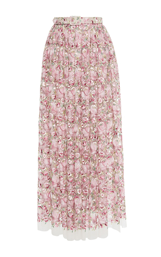Medium luisa beccaria pink tulle embroidered flowers skirt