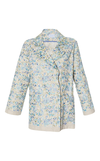 Medium luisa beccaria blue linen embroidered jacket
