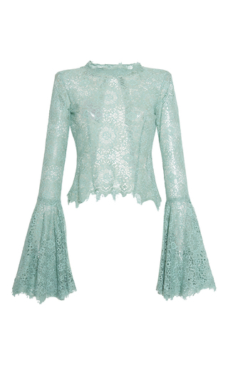 Medium luisa beccaria blue lace blouse with wide sleeves