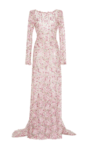 Medium luisa beccaria pink tulle embroidered sheath maxi dress