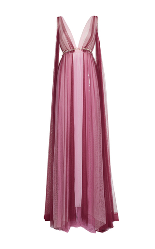 Medium luisa beccaria multi tulle bicolor v neck gown with flowers details