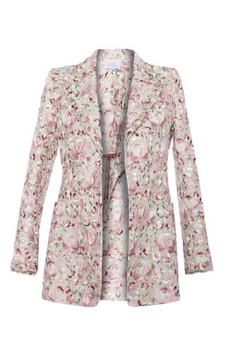 Medium luisa beccaria pink linen embroidered blazer