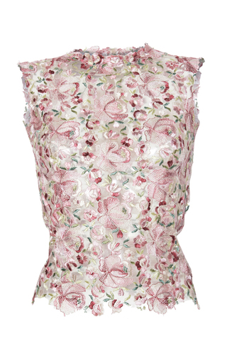 Medium luisa beccaria pink tulle flowers embroidered top