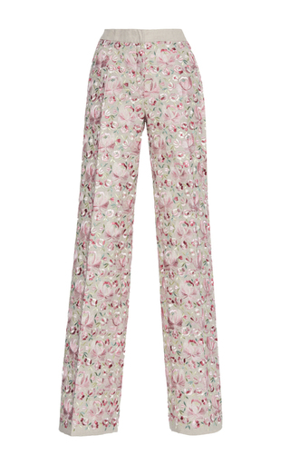 Medium luisa beccaria pink linen embroidered pants