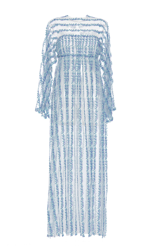 Medium luisa beccaria blue tulle embroidered maxi dress