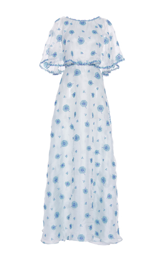 Medium luisa beccaria blue organza garze embroidered dress with cape