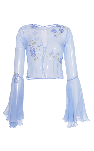 Medium luisa beccaria blue chiffon blouse with wide sleeves and embroidered flowers