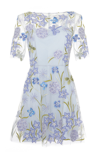 Medium luisa beccaria blue tulle embroidered mini dress