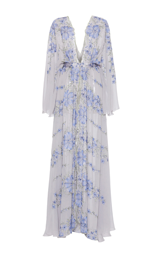 Medium luisa beccaria blue georgette embroidered kaftan