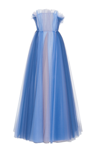 Medium luisa beccaria blue tulle multicolor ball gown