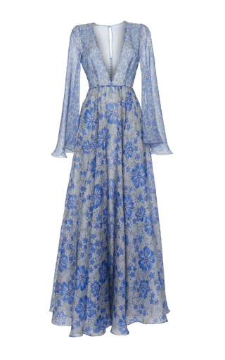Medium luisa beccaria print organza printed wide sleeves dress