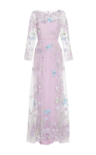 Medium luisa beccaria blue tulle embroidered maxi dress 2