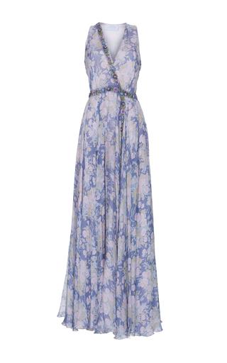 Medium luisa beccaria print chiffon printed dress with raffia detail