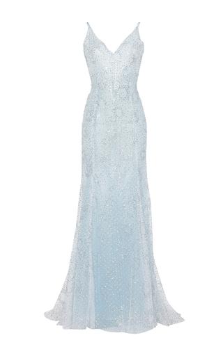 Medium luisa beccaria blue tulle sparkles maxi dress