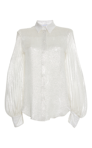 Medium luisa beccaria silver georgette lurex shirt with plisse sleeves