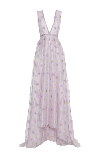 Medium luisa beccaria purple organza embroidered v neck gown