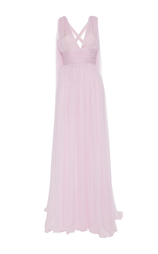 Medium luisa beccaria pink chiffon crepon gown with cape
