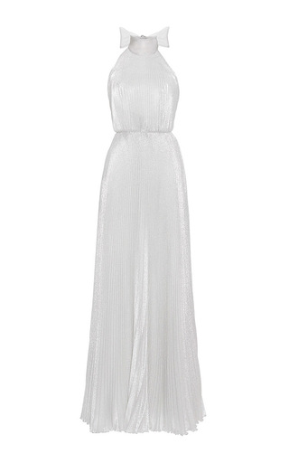 Medium luisa beccaria silver georgette plisse dress with open back