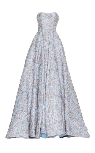 Medium luisa beccaria blue brocade bustier ball gown