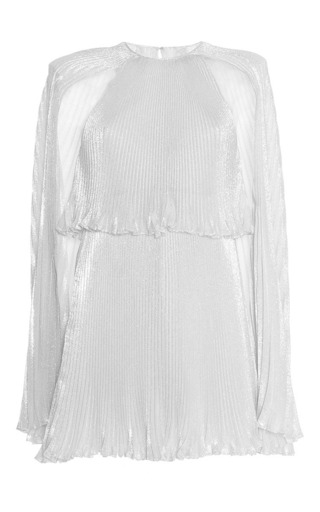 Medium luisa beccaria silver georgette lurex mini dress with cape