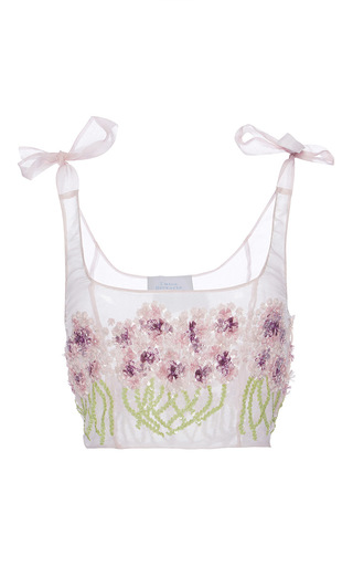 Medium luisa beccaria purple organza embroidered allium top
